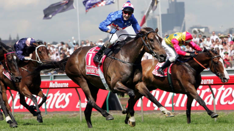 The moment: Glen Boss passes the post on Makybe Diva in the 2005 Melbourne Cup.