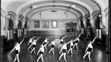 """A 1930 """"physical culture"""" class set up in the ballroom."""