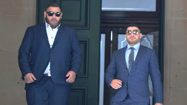 Abraham Sayour and Hasan Sayour outside court on Monday.