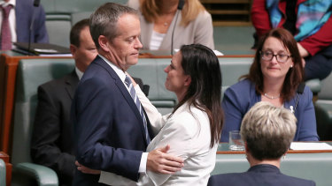 Bill Shorten with Emma Husar after her maiden speech in Parliament in 2016.