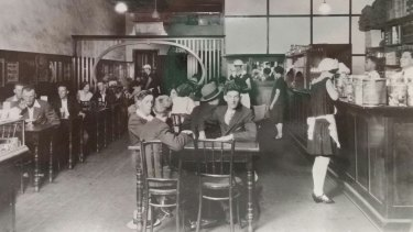 The Busy Bee Cafe, Kingaroy, 1929. The cafe is still in Haly Street, Kingaroy, but its leadlight facade is long gone.