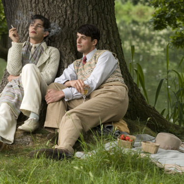 """""""Dappled, in a tapestry meadow …"""" Sebastian and Charles drink and talk wine in Brideshead Revisited."""