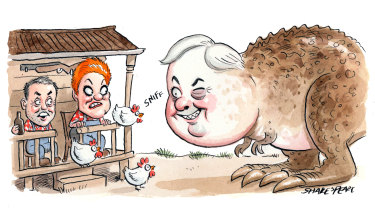 Pauline Hanson's One Nation and Clive Palmer's United Australia Party appear to be vying for candidates ahead of the federal election. Illustration: John Shakespeare