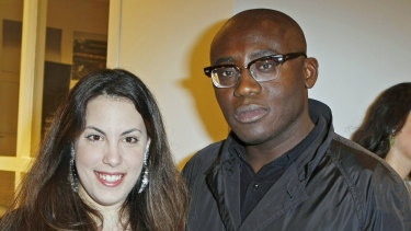 Mary Katrantzou with British Vogue editor Edward Enninful in 2017.