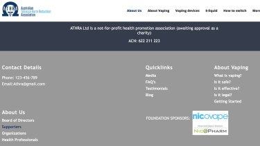 "Screenshot: ATHRA's website briefly showed information on ""foundation sponsors""."