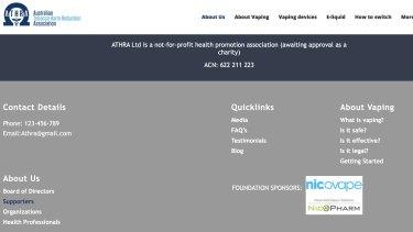 "Screenshot: ATHRA's website briefly showed information on ""foundation sponsors""."