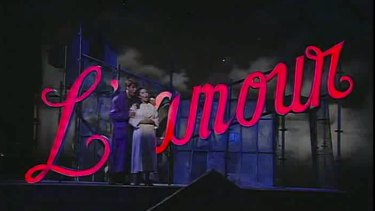 The L'amour sign in its first incarnation, in Baz Luhrmann's Sydney Opera House production of La Boheme.