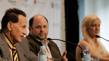 Alexander, centre, at the 2009 press conference ahead of the nuptials of medical entrepreneur Geoffrey Edelsten and fitness instructor Brynne Gordon.