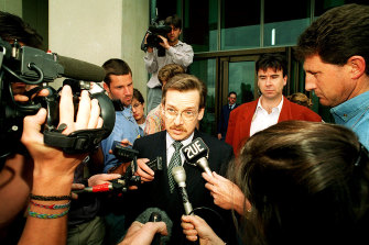 France's ambassador to Australia, Dominique Girard, leaves Parliament House after being called in to see the acting Foreign Affairs Minister, Senator Bob McMullan, in 1995 following the second French nuclear test in the South Pacific.