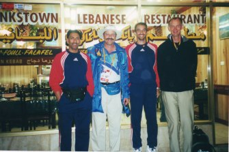 Jim Couri with members of the Oman team at Bankstown Lebanese Restaurant.