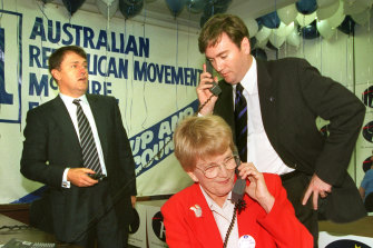 The Republican movement launches in South Melbourne, 1997: Malcolm Turnbull, Hazel Hawke and Eddie McGuire.