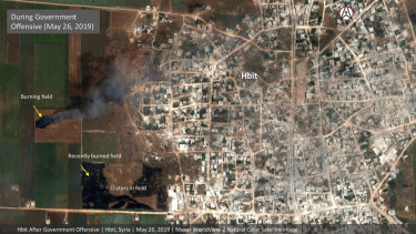 Fires still burn in olive groves and orchards during harvest season around Kfar Nabudah and Habeet, two villages on the edge of Idlib province where fighting has focused.