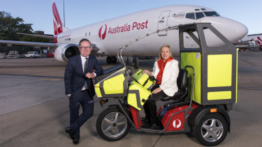 Qantas chief executive Alan Joyce and Australia Post chief executive Christine Holgate.