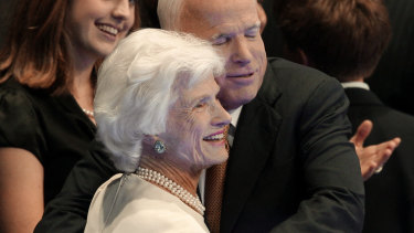 Then Republican presidential nominee John McCain embraces his mother, Roberta, following his acceptance speech in 2008.