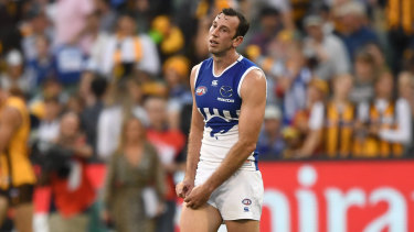 Rolled: North Melbourne ruckman Todd Goldstein reacts after the loss to Hawthorn.