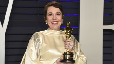 Olivia Colman, winner of the best actress award for The Favourite, at the Vanity Fair Oscar Party.