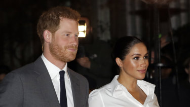 The Duke and Duchess of Sussex attending an awards ceremony on February 9.