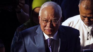 Former Malaysian prime minister Najib Razak arrives at the High Court in Kuala Lumpur on Monday.
