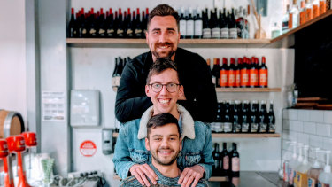 Commune Wine Store co-owners Peter Baker and Chris Ford with manager Alex Cilliers.