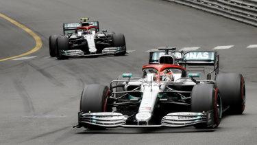 Mercedes driver Lewis Hamilton leads his teammate driver Valtteri Bottas.