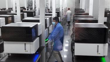 A lab at genomics company BGI in Shenzhen, China.