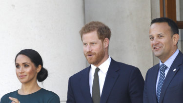 Meghan Markle and Prince Harry with the Prime Minister of Ireland.