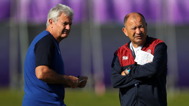 Brains trust: Neil Craig (left) looks on during a training session with England head coach Eddie Jones at the 2019 Rugby World Cup in Japan.