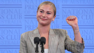 Australian of the Year Grace Tame during her address to the National Press Club.