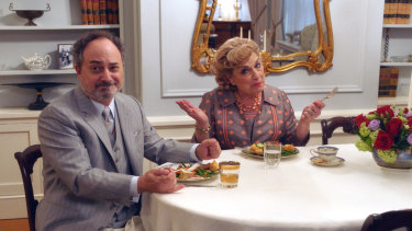 Kevin Pollak and Caroline Aaron as garrulous in-laws Moishe and Shirley.