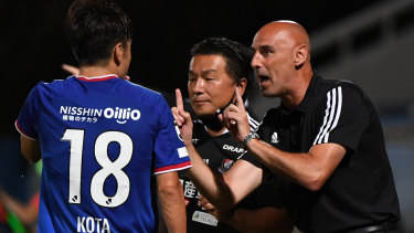 Kevin Muscat giving pitch-side instructions as coach of Yokohama F.Marinos in the J-League.
