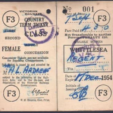 A ticket for the Mernda rail line.