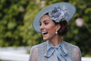 Duchess of Cambridge, smiles upon her arrival on the day one of the annual races at Royal Ascot.