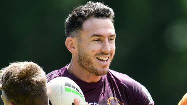 Brisbane star Darius Boyd at Broncos training on Monday.