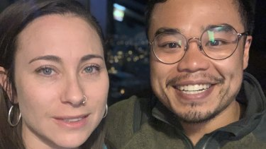Sarah Eifermann and Trung Le, both from Melbourne, who are among flatmates in lockdown in an Airbnb in the Peruvian city of Cusco.