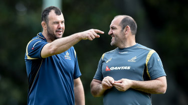 Cheika and Ledesma during their Wallabies days in 2015.