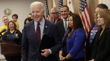 All smiles: Democratic presidential candidate former vice-president Joe Biden.