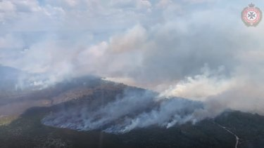 An aerial view of the Fraser Island fires on Friday, November 27.