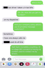 The text messages between Natasha and the taxi driver on February 12.
