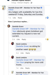 A facebook post by Labor MP Danielle Green