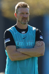 Nathan Buckley at Magpies training at the Holden Centre on Wednesday.