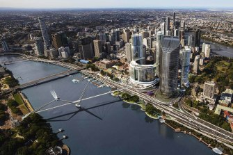 The concept design for the Neville Bonner Bridge from Queen's Wharf to South Brisbane.
