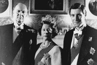 From left: Donald Douglas as Prince Philip, Anne Stallybrass as the Queen and David Threlfall as Charles in Diana: Her True Story.