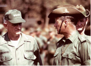 Major-General Donald Begg in Vietnam with General Harold Johnson, US Army Chief of Staff.