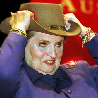 Albright with the Akubra given to her by former foreign affairs minister Alexander Downer during her visit to Australia in 1998.