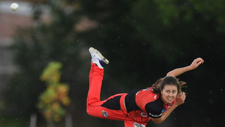 Dominant: Renegades spinner Molly Strano sends down a delivery during the WBBL clash against Brisbane at the Geelong Cricket Ground.
