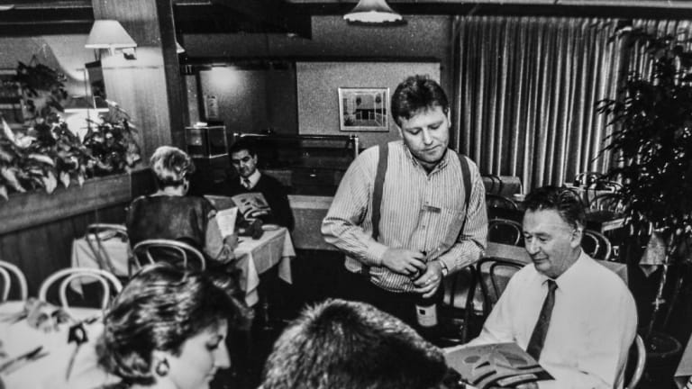 1990: Barry Mudway, maitr d'maison of the Canberra Southern Cross Club's Reef and Beef restaurant. The old Reef and Beef later became the kids play area, but, as part if the $5 million redevelopment, is now an a la carte dining experience called The Patio.