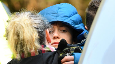 William Callaghan with his mother shortly after being found.