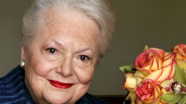 Olivia de Havilland, who played the doomed Southern belle Melanie in Gone With the Wind, pictured in 2004.
