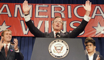 President-elect George H. W. Bush during a rally on November 9, 1988.