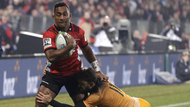 No conviction recorded: Sevu Reece is tackled by Ramiro Moyano during the Super Rugby final between the Crusaders and the Jaguares in Christchurch.